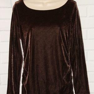 Soft Surroundings Sz M Brown Velvet Ruched Top